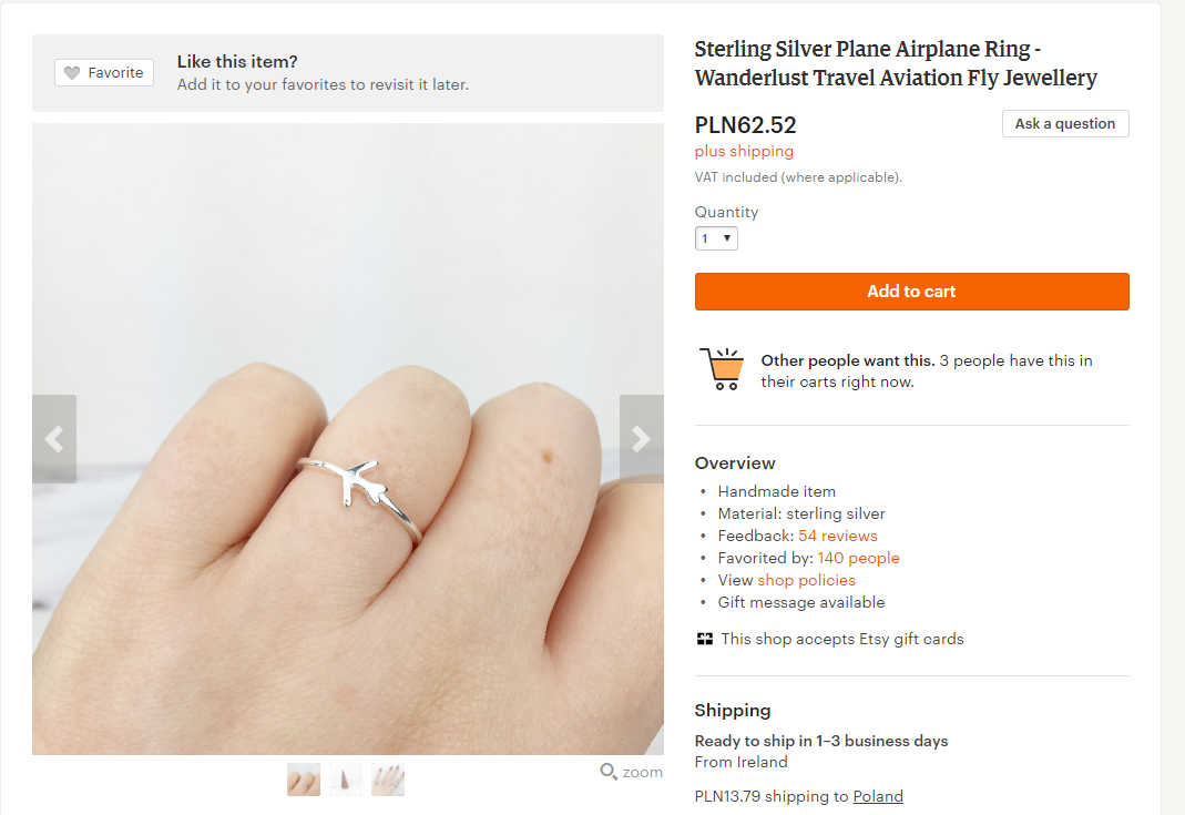 pomysł na prezent dla podróżnika - pierścionek z samolotem