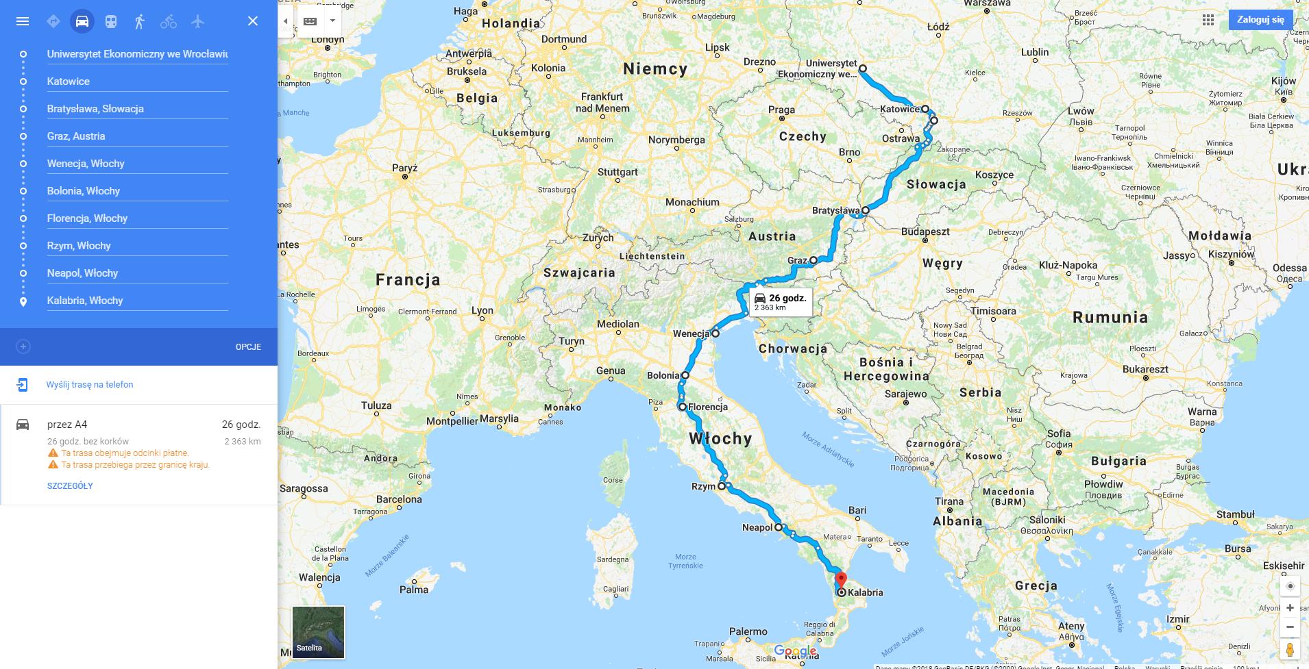 Wrocław Calabria - Jak dotrzeć na metę AutoStop Race 2018 - Kate Traveller - Blog podróżniczy